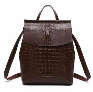 Women's Genuine Cow Leather Backpack Shoulder Bag Travel Book Bag Crocodile M