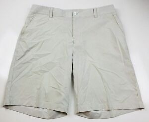 Mens Under Armour Performance Striped Athletic Golf Shorts Size 34R Tan White