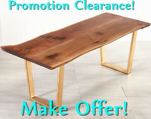 79#x27;#x27; Modern Furniture Walnut Finish Natural Wood Shaped Living Dining Long Table $1599.00