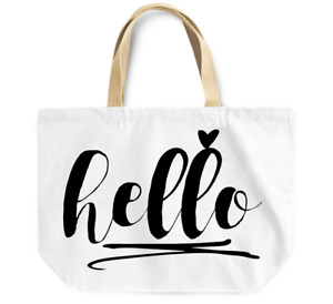 Tote Bag Hello Hand Carry Bag Reusable Canvas Grocery Shopping Shoulder Bag
