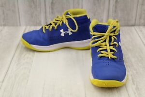 Under Armour Kids BPS Jet 2017 Hi Top Sneakers Big Boy's Size 3 BlueYellow