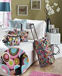 3 PC Overnight Suitcase Rolling Luggage Set Travel Wheels Duffel Bag Carry Tote