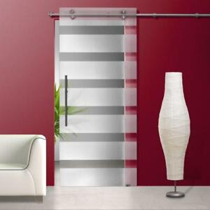 Glass Sliding Barn Door Sandblasted Frosted  with Clear Stripes Design