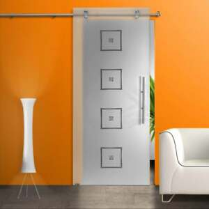 Glass Sliding Barn Door Sandblasted with Retro Frosted Design+ Sliding System
