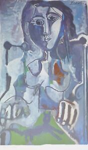 PABLO PICASSO Woman with cat... plate signed HAND NUMBERED LITHOGRAPH gouache $245.00