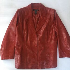 Women's plus size DIALOGUE Red Embossed Crocodile  Leather Jacket Size 1X