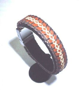 %100 GENUINE BROWN LEATHER BRACELET MEN WOMEN TURKISH COW HANDMADE 22CM
