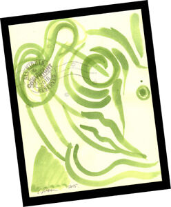 Italian Man w Monocle 2015 Contemporary Art Abstract PAINTING SIGNED green face