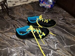 Under Armour Boys Youth Baseball Cleats US 12K Blue Yellow Black Shoes