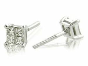 14kt White Gold Princess Cut Diamond Stud Earrings 0.25ct TW- FREE SHIPPING