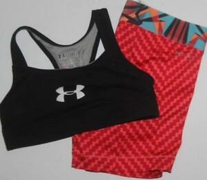 Under Armour Nike Girl's Athletic Apparel Shorts Sports Bra Lot of 2 Size YXS