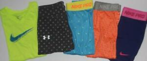 Under Armour Nike Girl's Leggings Shorts Shirts Lot of 5 Sz Medium FREE SHIPPING