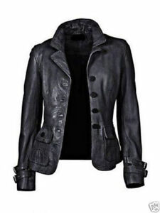 New Women's Genuine Lambskin soft Leather Motorcycle Slim fit Biker Jacket