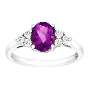 2 38 ct Natural Amethyst & White Topaz Ring in Sterling Silver
