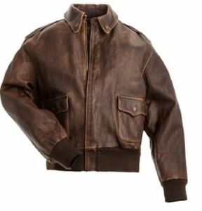 Men's A-2 Air Force Distressed Brown Real Cowhide Flight Bomber Leather Jacket