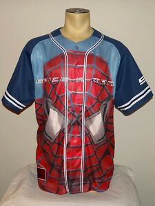 Vtg 2003 Marvel Spider-Man button-down baseball jersey shirt size Large