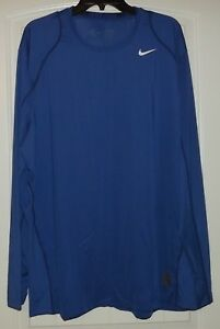 NIKE DRY-FIT PRO COOL FITTED LS SHIRT MENS Sz 2XL Blue 703100-480 NEW $32