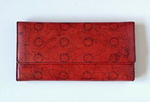 Red Leather Wallet with Abstract Art Coral Pattern Purse Women's Designer Wallet