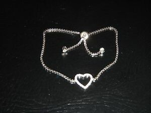 Women's #925 Sterling Silver Crystals Pave Heart Pendant Adjustable Bracelet