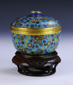 A CHINESE ANTIQUE CLOISONNE LIDDED BOWL $2000.00