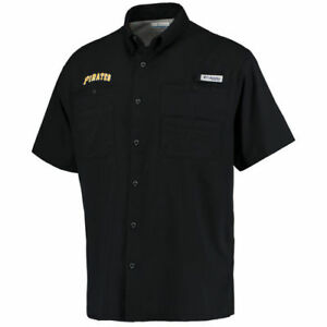 Columbia Pittsburgh Pirates Black Tamiami Button-Down Shirt