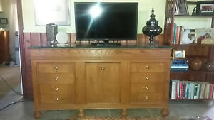 Beautiful Custom Made Solid Oak Credenza with Green Marble TopT $300