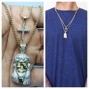 Mens Gold Mini Micro Jesus Piece And Cross Pendant Combo Set Necklace Chain