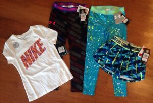 Girls XS 6-6X Under Armour Leggings Athletic Shorts Nike Tee Shirt Clothing Lot