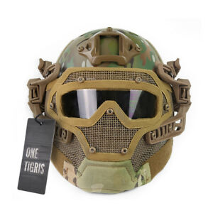 OneTigris PJ Tactical Fast Helmet With ABS Mesh Mask Goggle Airsoft Paintball