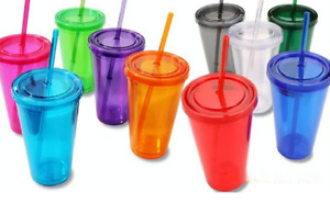 Double-Wall Plastic Tumblers with Lids 16 oz. assorted color $6.04 FREE SHIPPING