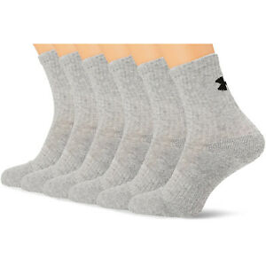 UNDER ARMOUR NEW Men's Charged Cotton 2.0 Crew Socks Grey BNWT