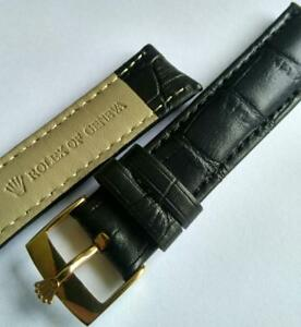 Rolex 18mm 17mm black leather bracelet Watch band Gold plated Rolex Watch Buckle