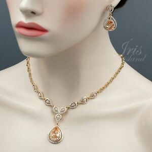 18k Gold Plated GP Topaz CZ Crystal Necklace Earring Wedding Jewelry Set 01348