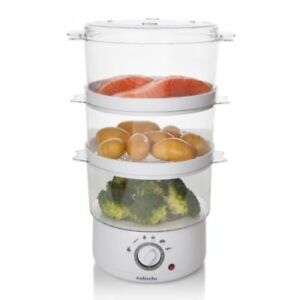 FOOD STEAMER ELECTRIC COOKER 3 TIER 400W 7.2L CAPACITY PAN VEGETABLE POT WHITE