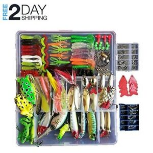 275Pcs Fishing Lures Lot with Tackle Box Hard Soft Plastic Saltwater Freshwater