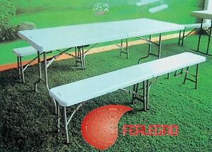 TABLE RECTANGULAR AND BENCHES FOLDING CAMPING MOUNTAIN SET BREWERY ART10193