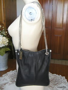 Kenneth Cole Black Leather Crossbody Silver Chain Strap Bag Handbag Purse~MINT!