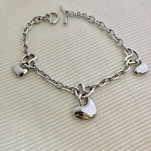 Fashion Solid 925 Sterling Silver Jewelry Hearts Link Charm Bracelet For Women