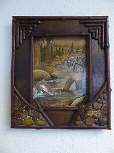 Adirondack Painting Man in Blue Shirt Fishing Oil on Board Framed