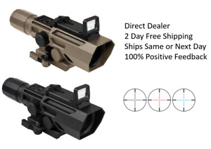 NcStar ADO 3-9X42 BlueRed Ill P4 Sniper wFlip Up Red Dot Rifle Scope BlackTan