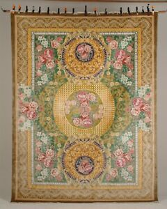 100% Silk Hand-Knotted Gold Green Blue and Pink Rectangle Rugs sku 03RC