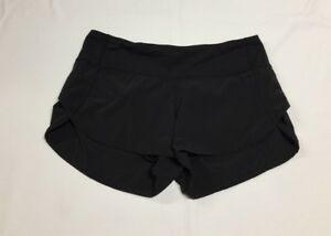 Lululemon Black Speed Shorts Solid Lined Womens Run Zipper Pocket Sz 4