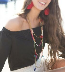 Plunder Jewelry Nettie necklace multi-colored gold beads tassels 24