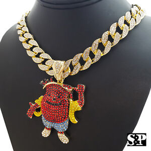 Hip Hop Iced out Gold Tone KOOL AID MAN & 18