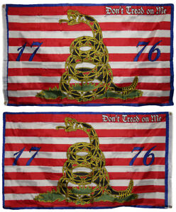 3x5 Gadsden 1776 Don't Tread On Me 2 Faced Double Sided 2-ply Polyester Flag