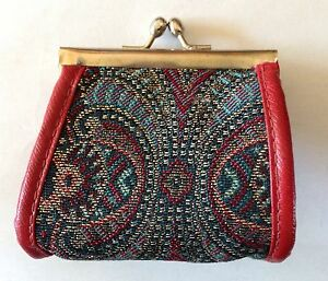 Vintage Italian Coin Purse Red Leather Trim Paisley Tapestry Change Purse
