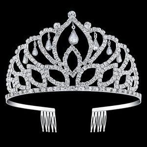 Elegant Silver Rhinestone Crown Tall Pageant Tiaras with Combs for Women