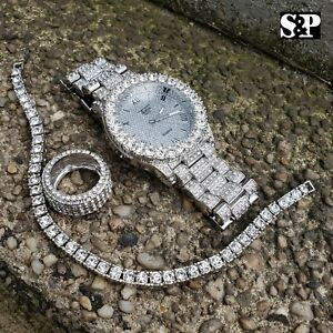 MEN HIP HOP ICED OUT MIGOS BLING WATCH & RING & TENNIS CHAIN BRACELET COMBO SET
