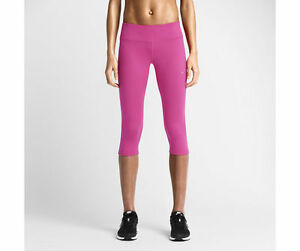 NEW-Nike Women's Epic Run Tight Fit Capris Shorts- PinkReflective Silver Small