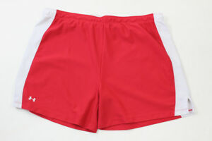 Mens Under Armour Gym Shorts Running Red White Size XL Athletic